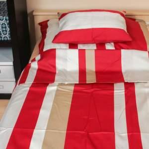 Pille piros drapp csíkos pamut ágynemű