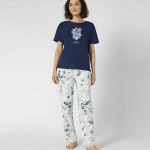 Triumph Sets PK 10 X rövidujjú hosszúszárú pizsama sötétkék színben mintával