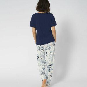 Triumph Sets PK 10 X rövidujjú hosszúszárú pizsama sötétkék színben mintáva