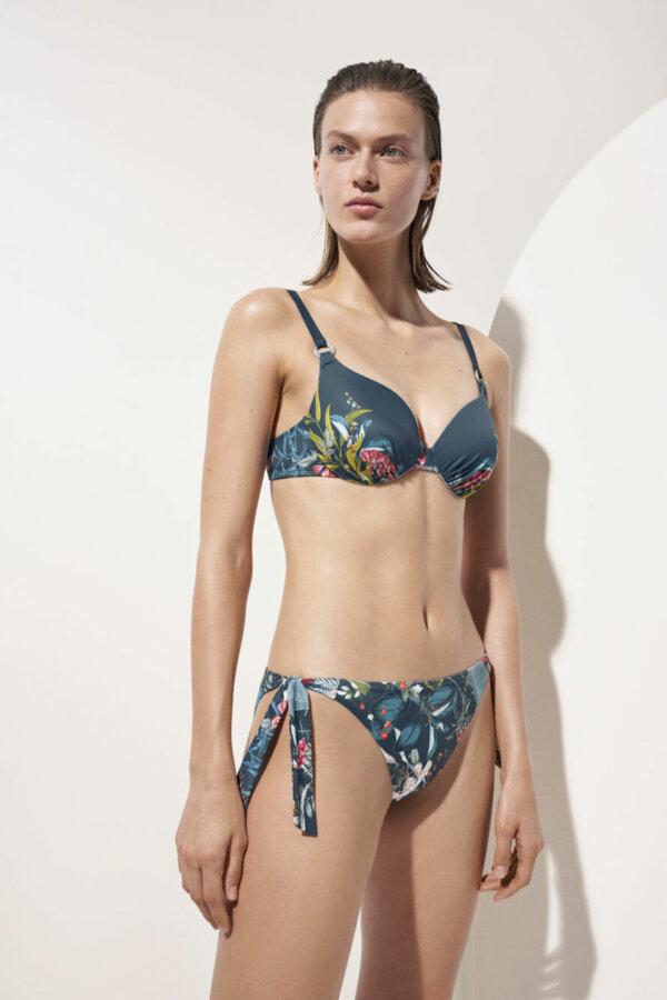 Triumph Botanical Leaf WP szivacsos bikini felső kék mintával