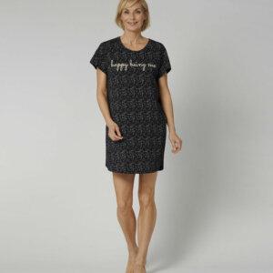 Triumph Nightdresses NDK 01 rövidujjú hálóing fekete színben mintával